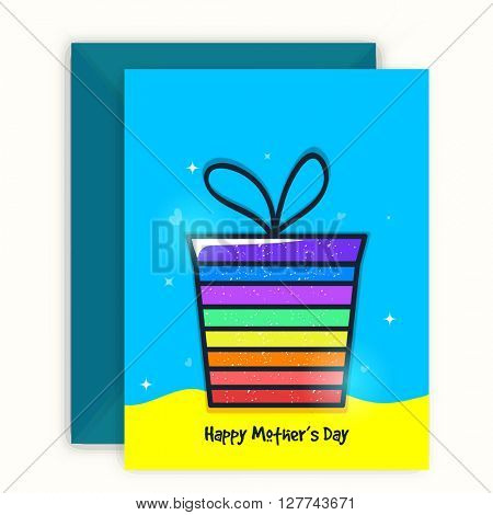 Colorful gift box decorated, Greeting Card design with envelope for Happy Mother's Day celebration.