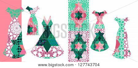 Beautiful card with collection of summer female dresses. Fantasy patchwork patterns in pink and green tones. Fashion design. Vector illustration.