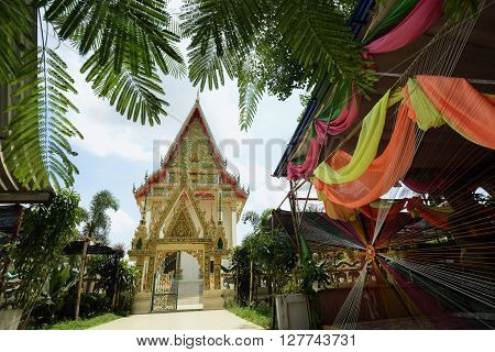 The Tempel Wat Pak Saeng near Lakhon Pheng on the Mekong River in the Provinz Amnat Charoen in the northwest of Ubon Ratchathani in the Region of Isan in Northeast Thailand in Thailand.