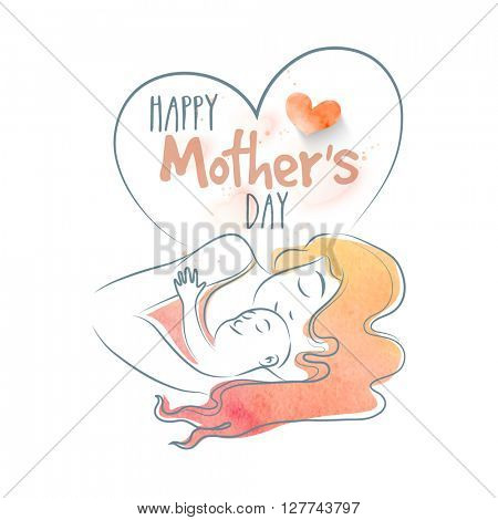 Vector illustration of beautiful Young Mother laying with her cute Baby for Happy Mother's Day celebration.