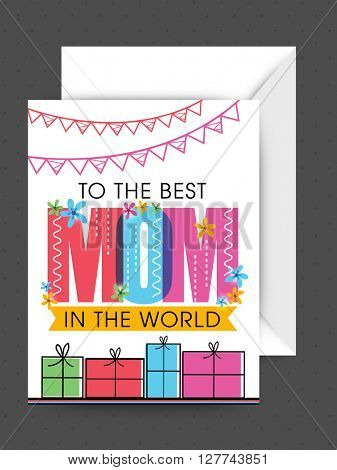 Elegant greeting card design with envelope for Happy Mother's Day celebration.