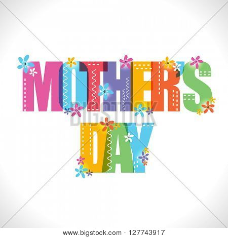 Stylish colorful text Mother's Day with beautiful flowers on shiny grey background, can be used as greeting card or invitation card design.