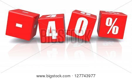 40% discount red cubes on a white background. 3d rendered image