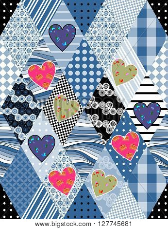 Patchwork quilt with hearts and rhombuses. Seamless pattern. Vector illustration.