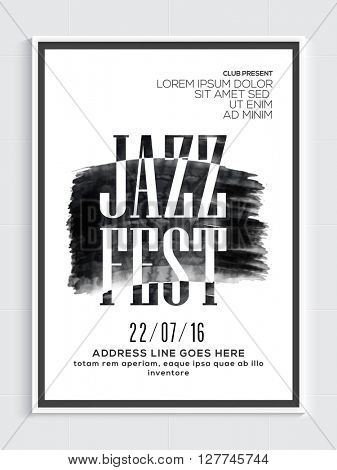 Jazz Fest, Musical Party Template, Dance Party Flyer, Night Party Banner or Club Invitation design.