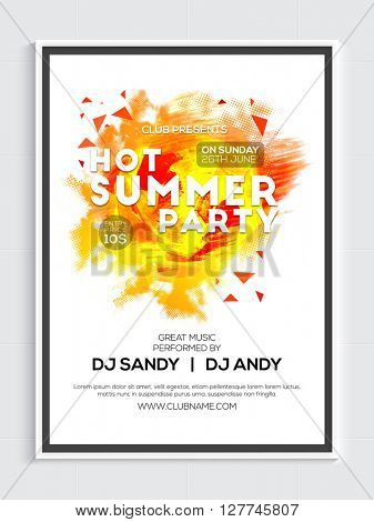 Hot Summer Party Template, Musical Party Banner, Dance Party Flyer or Club Invitation design.