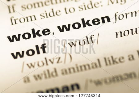 Close Up Of Old English Dictionary Page With Word Woke Woken.