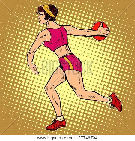 Girl discus thrower athletics. Summer sports games. Vector athlete. pop art retro style