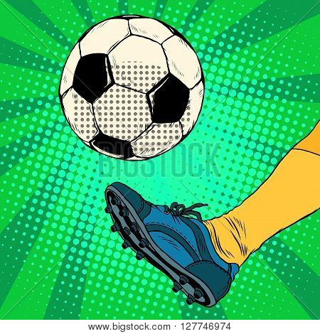 Kick a soccer ball pop art retro style. The European football. The free-kick