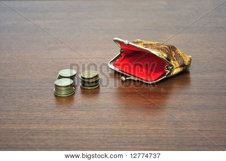 Coins and a small empty purse