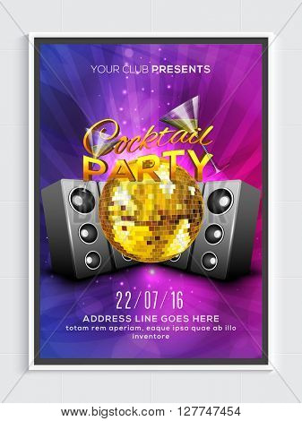 Cocktail Party Template, Banner or Flyer design with golden disco ball and glossy speakers on shiny background.