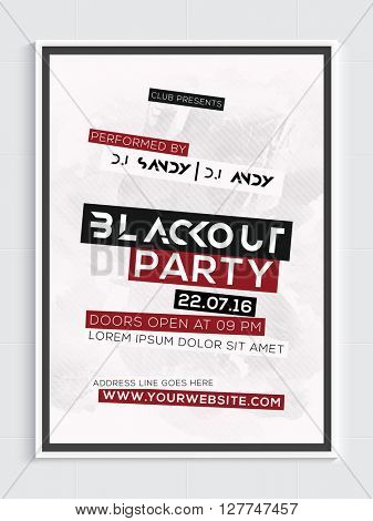 Blackout Musical Party Template, Dance Party Flyer, Night Party Banner or Club Invitation design.