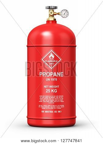 3D render illustration of red metal steel liquefied compressed natural propane gas LNG or LPG container or cylinder with high pressure gauge meter and valve isolated on white background