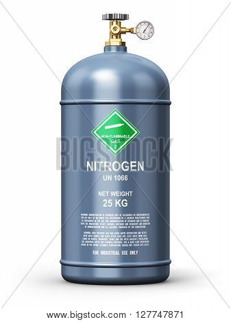 3D render illustration of gray metal steel liquefied compressed natural nitrogen gas container or cylinder with high pressure gauge meter and valve isolated on white background