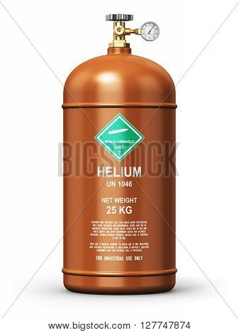 3D render illustration of brown metal steel liquefied compressed natural helium gas container or cylinder with high pressure gauge meter and valve isolated on white background