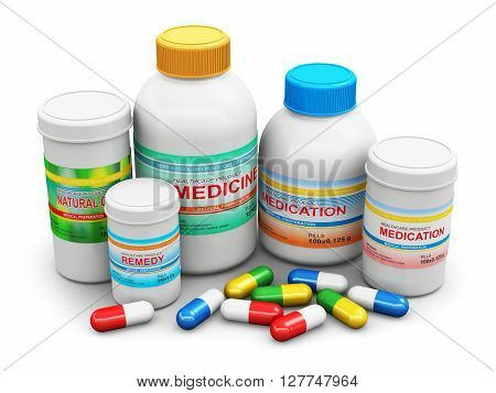 3D render illustration of the group of health care medical supplies - plastic bottles and cans with pharmaceutical color pills and colorful tablets isolated on white background