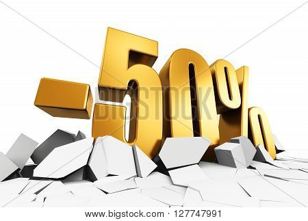 3D render illustration of golden minus 50 percent price cut off text on cracked surface isolated on white background