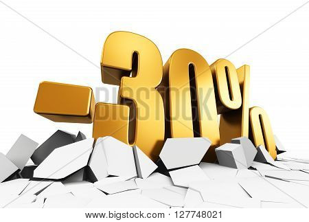 3D render illustration of golden minus 30 percent price cut off text on cracked surface isolated on white background