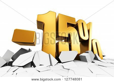 3D render illustration of golden minus 15 percent price cut off text on cracked surface isolated on white background