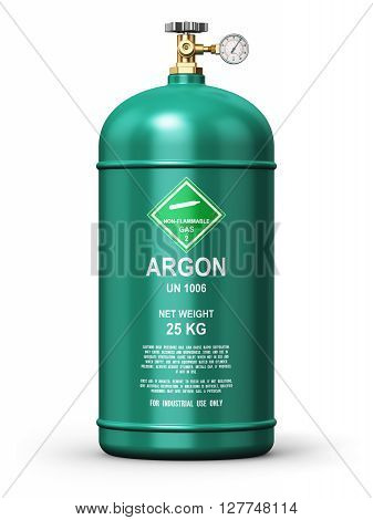 3D render illustration of green metal steel liquefied compressed natural argon gas container or cylinder with high pressure gauge meter and valve for aluminum welding isolated on white background