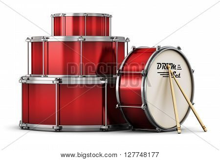 3D render illustration of red drum set with pair of drumsticks isolated on white background