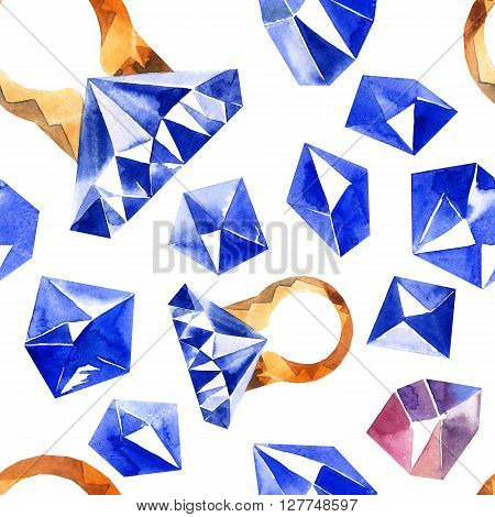 Watercolor illustration of diamond crystals and ring with sapphire. Seamless pattern.