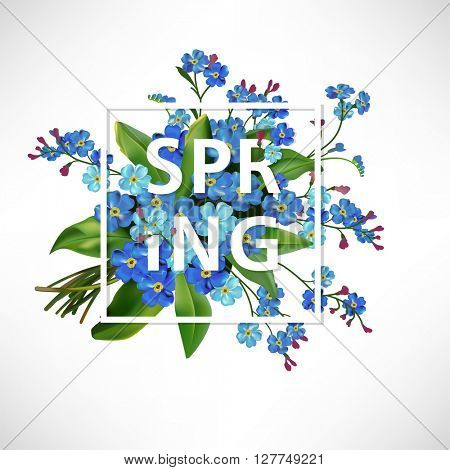 Spring lettering background with blue forget-me-not flowers