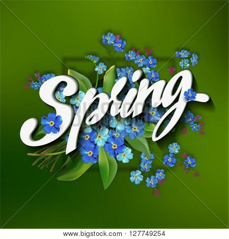Spring lettering  illustration with forget me not flowers on green