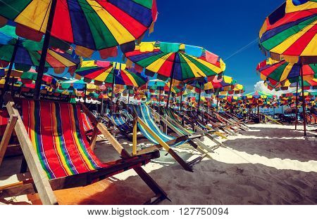 Bright umbrellas on a sandy beach at sunny day