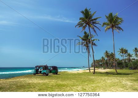 Two rickshaw stay on the ocean shore with palm trees