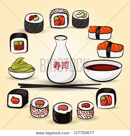 Sushi Bar set. Assorted japan food and species. Illustration in cartoon style.