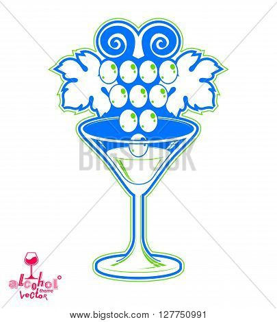 Elegant martini glass with grape vine racemation emblem best for use in graphic and web design.