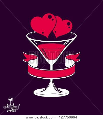 Valentine day festive illustration martini glass with decorative ribbon two loving hearts