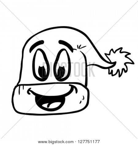 black and white freehand drawn happy christmas hat cartoon illustration
