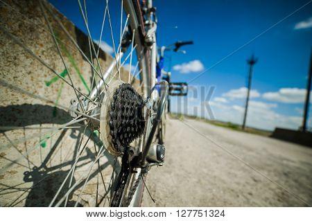 bike on a dirt road. back view