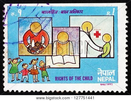 NEPAL - CIRCA 1992: a stamp printed in the Nepal dedicated to Rights of the Child circa 1992
