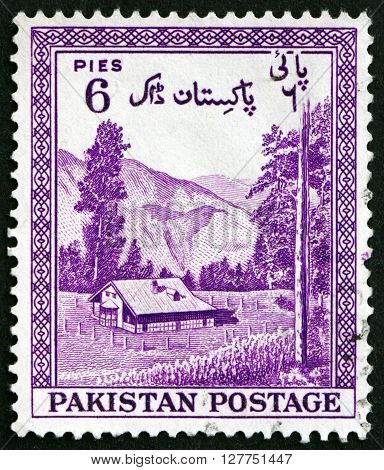 PAKISTAN - CIRCA 1954: a stamp printed in Pakistan shows View of Kaghan Valley is an Alpine-climate Valley circa 1954