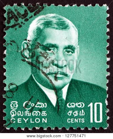SRI LANKA - CIRCA 1966: a stamp printed in Sri Lanka shows Don Stephen Senanayake was the first Prime Minister of Sri Lanka circa 1966