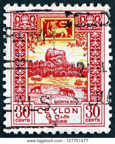 SRI LANKA - CIRCA 1950: a stamp printed in Sri Lanka shows Sigiriya is an Ancient Rock Fortress Located in the Central Province Sri Lanka circa 1950