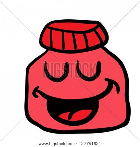 happy jam jar cartoon illustration