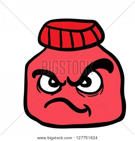 angry  jam jar cartoon illustration