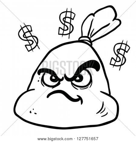 black and white angry money bag cartoon illustration