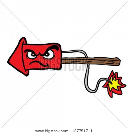 angry fire rocket cartoon illustration