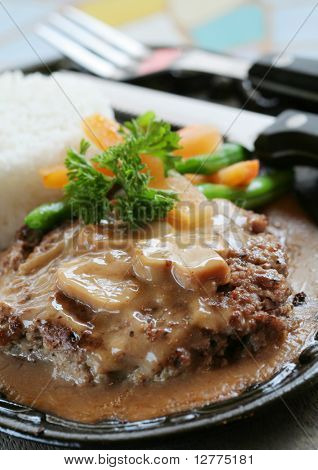 Sizzling Burger Steak with rice and vegetables