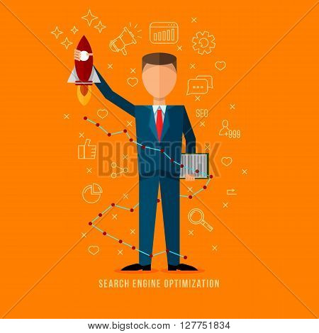 Search engine optimization specialist .Flat style seo expert illustration . Line flat icons set . Flat man character . Internet marketing .