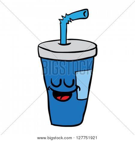 happy freehand drawn cartoon soda illustration