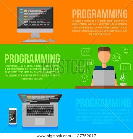 Programmer working place . Vector programmer gadgets , .horizontal flat style colorful banners set . Programming flat infographic . Lineart icons
