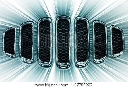 Chrome grille of the car in abstract form