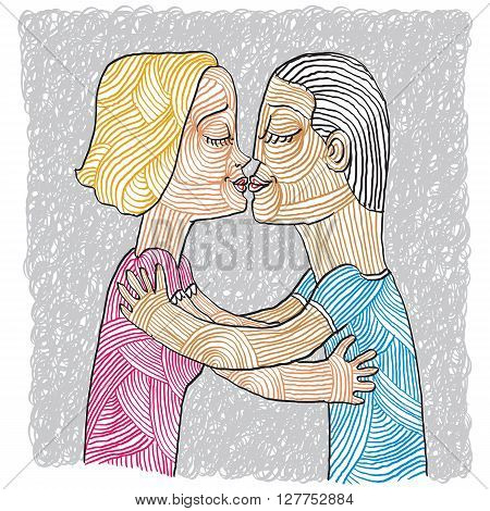 Happy family couple kissing human relationships idea. Love and happiness conceptual illustration. Hand-drawn man and woman embracing idyllic.