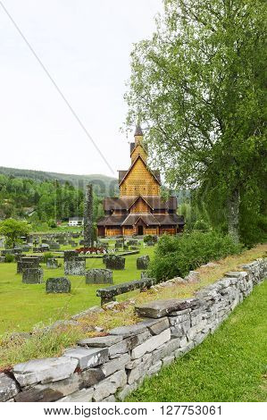 Heddal Stave Church in Telemark, Norway, summer ** Note: Shallow depth of field